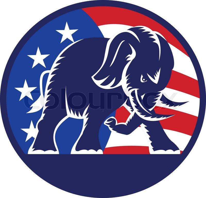 republican elephant mascot usa flag | stock vector | colourbox