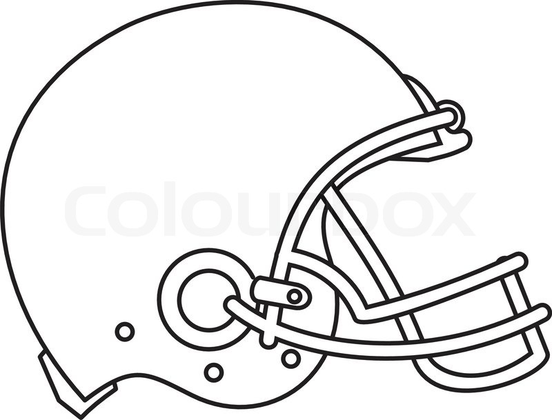 Line Drawing Illustration Of An American Football Helmet