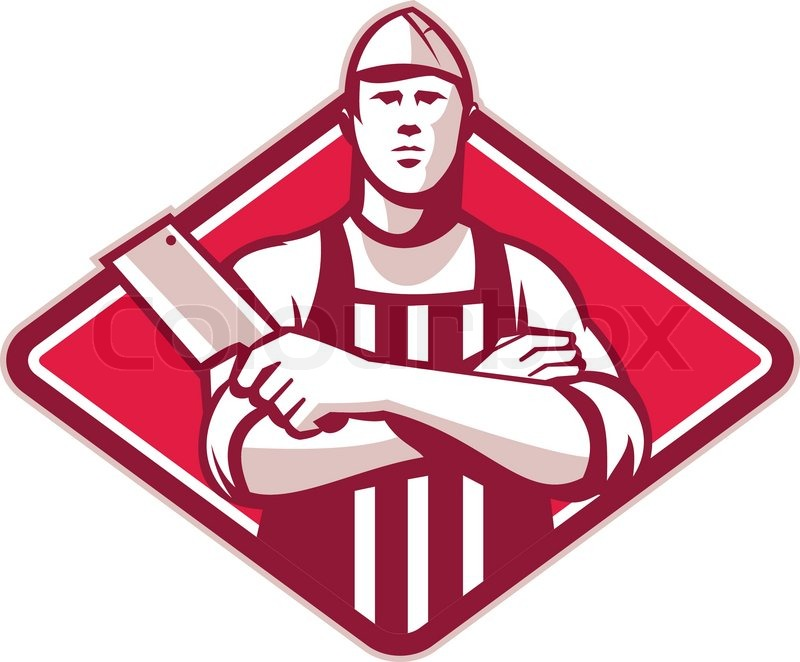 Retro style illustration of a butcher cutter worker with meat cleaver