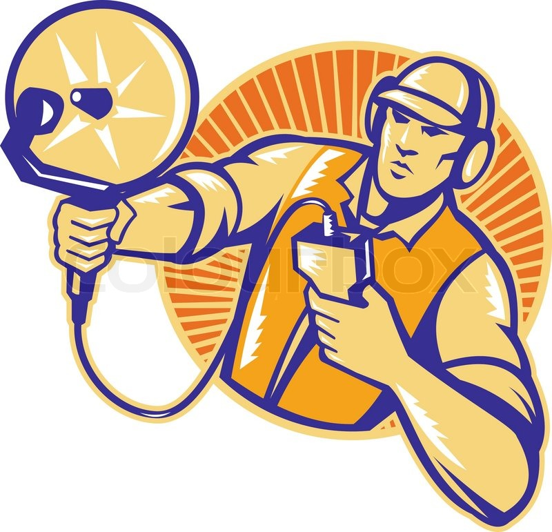 Illustration of an engineer technician pointing with ultrasound – Satellite Dish Technician
