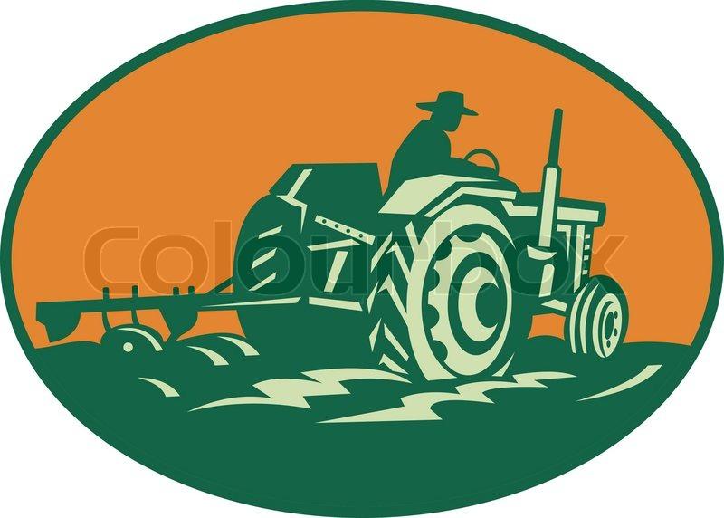 Farmer Worker Driving Farm Tractor Stock Vector Colourbox