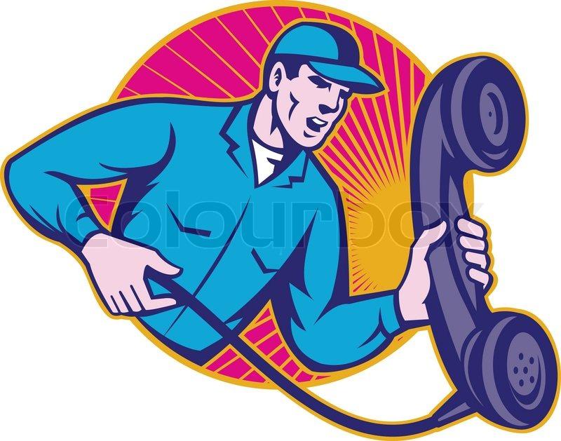 Telephone Repairman Worker Holding Retro Phone | Stock Vector ...