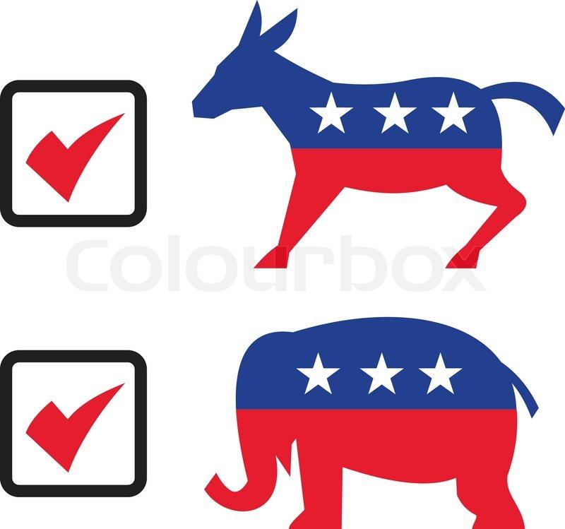 republican elephant democrat donkey election ballot stock vector rh colourbox com republican elephant logo vector republican elephant vector clip art free