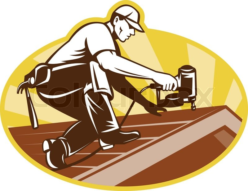 Roofer Roofing Worker Working On Roof Stock Vector