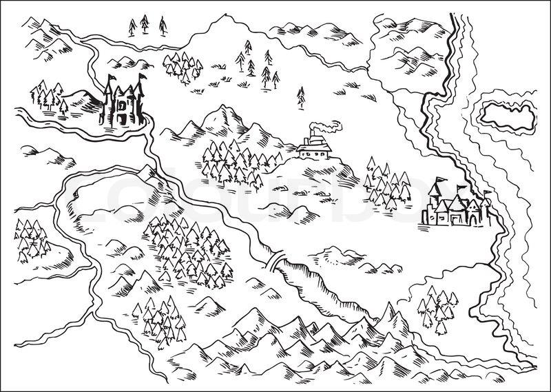 abbildung zeichnung einer karte von einem fantasy land zeigen fl sse gebirge b ume wald. Black Bedroom Furniture Sets. Home Design Ideas