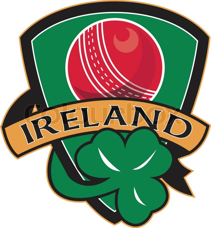 Cricket ball shamrock ireland shield stock vector for Irish mail cart plans