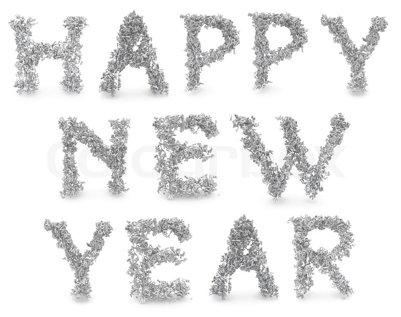 Shape of happy new year made from 3d letters Stock
