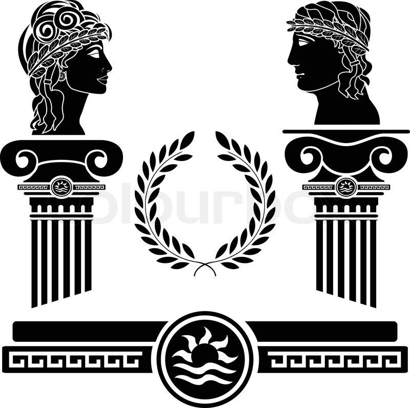 Stock Vector Greek Columns And  Greek Architecture Clipart