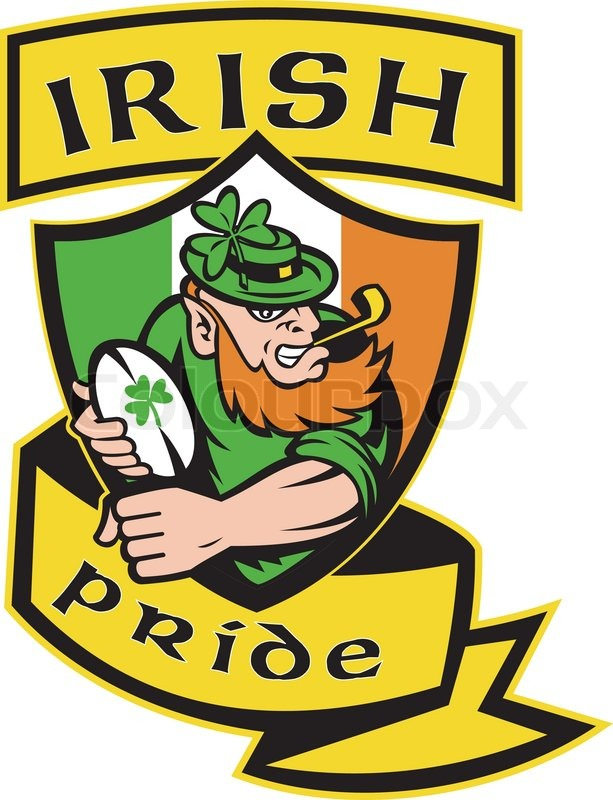 Ireland Rugby Player Leprechaun Vector Stock Vector