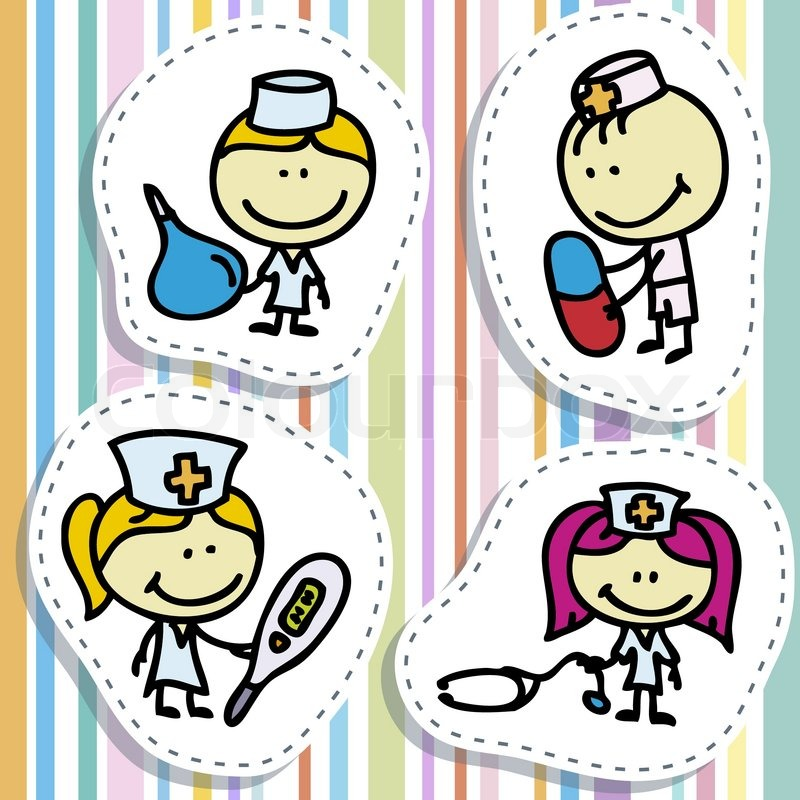 Icon Set Of Doodle Happy Doctor Children With Medical