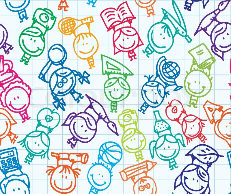 Seamless doodle background happy kids go back to school ...