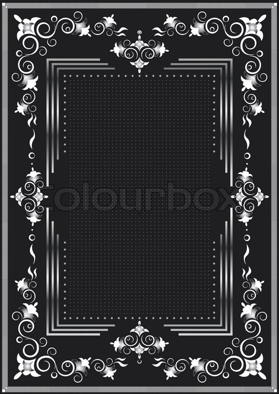 Decorative frame for silver decor on a black background. | Stock ...