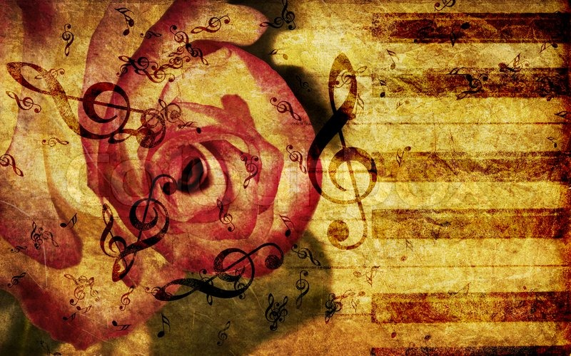 Vintage Music Note Wallpapers For Android Harmony: Vintage Background With Rose And Notes