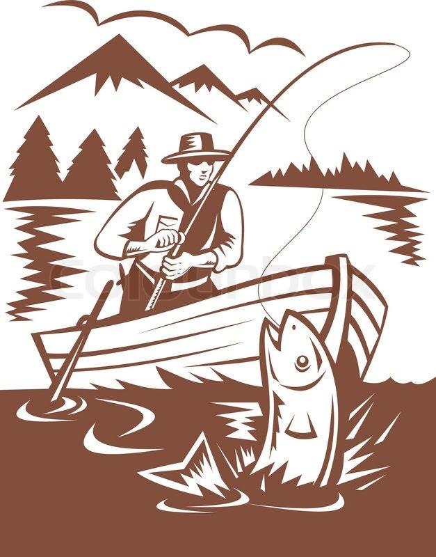 Fisherman Fly Fishing Catching Fish Stock Vector Colourbox