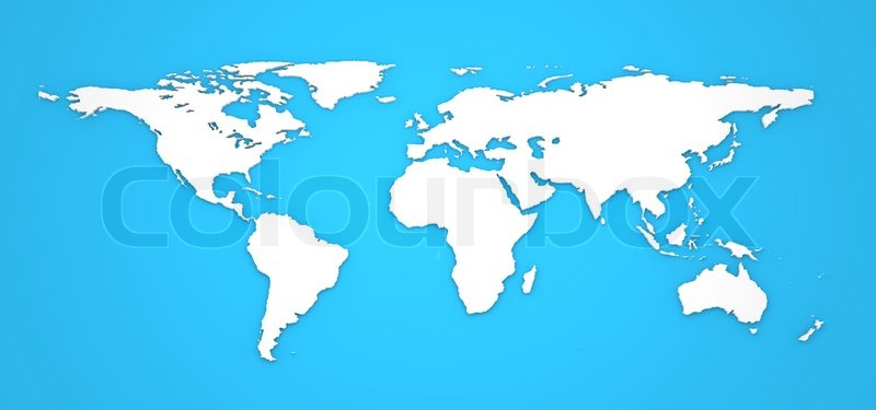 3d world map on blue background stock photo
