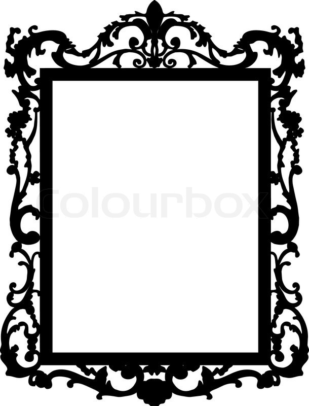 Silhoute of baroque mirror stock vector colourbox for Fancy white mirror