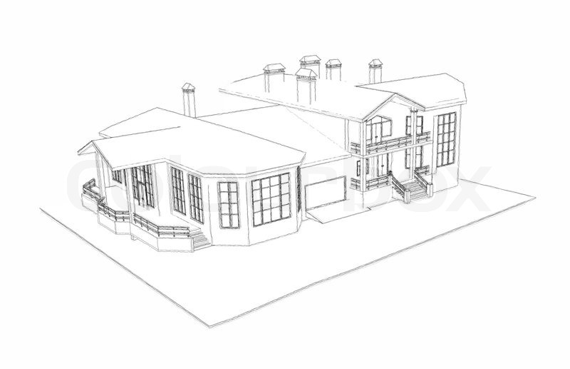 House: 3d Technical Draw, Stock Photo