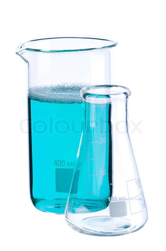 Stock image of laboratory glassware,bright modern chemical concept