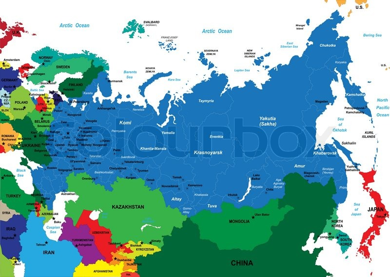 Highly Detailed Vector Map Of Russia With Administrative Regions - Russia administrative map