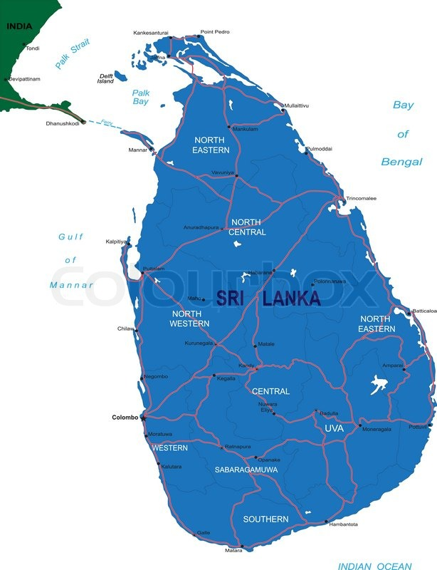 Highly detailed vector map sri lanka of with administrative regions highly detailed vector map sri lanka of with administrative regionsmain cities and roads vector gumiabroncs Image collections