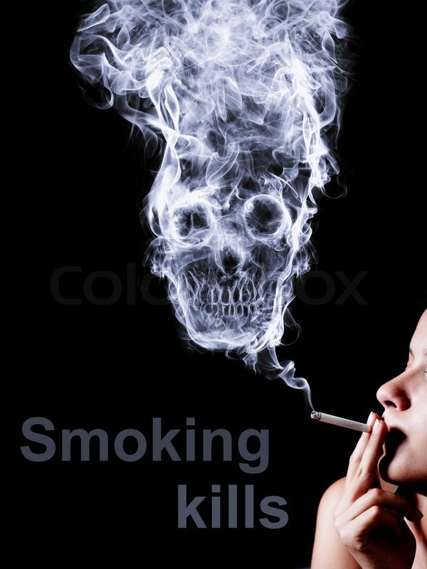 the concept  u0026quot smoking kills u0026quot  isolated on a black background
