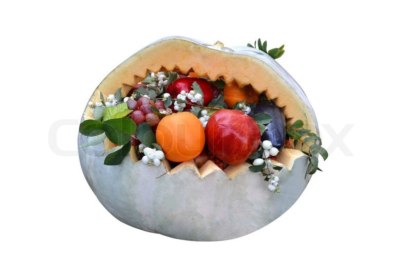 Basket of fruit pumpkin carving stock photo colourbox