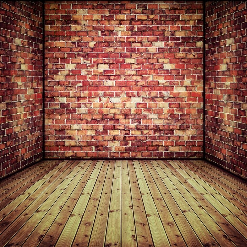 Interior Brick Flooring Pricing : Abstract interior with old brick wall and wooden floor