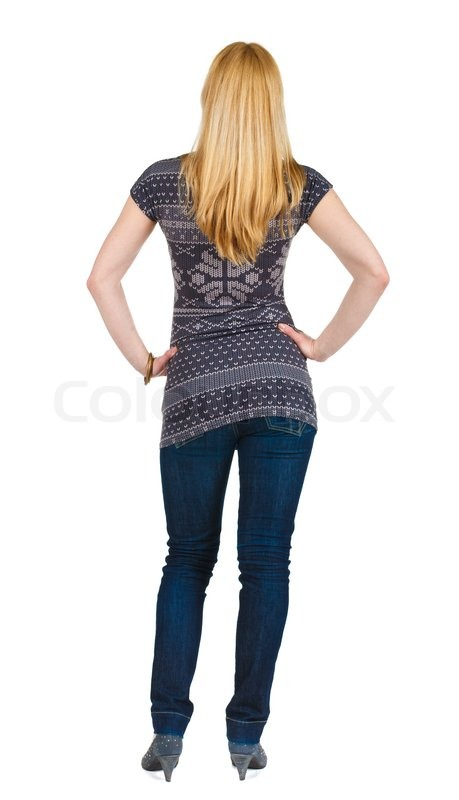 Back View Of Standing Beautiful Blonde Woman Stock Photo