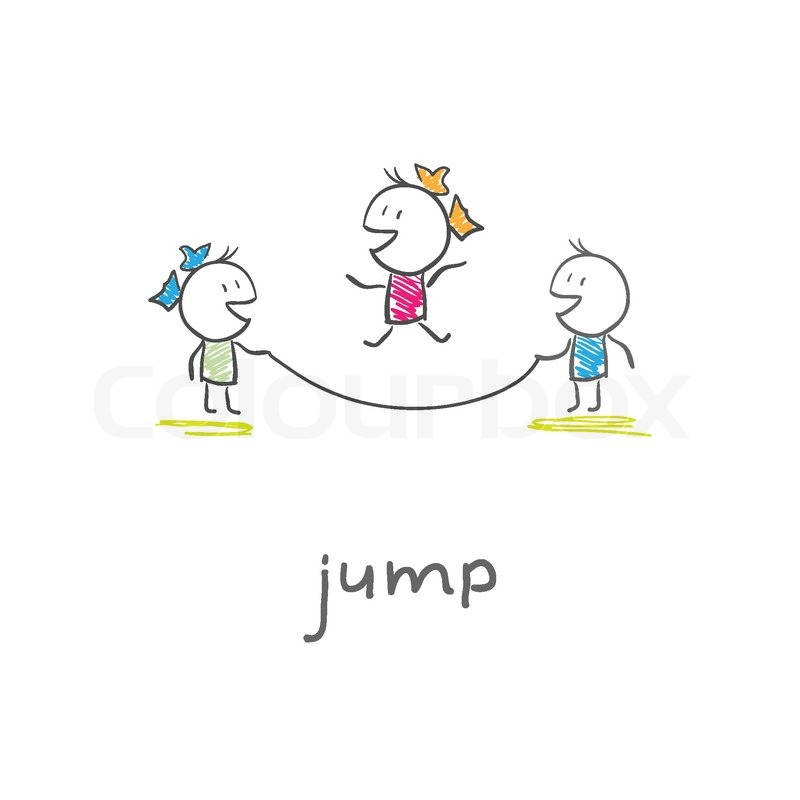 children playing jumping rope | stock vector | colourbox