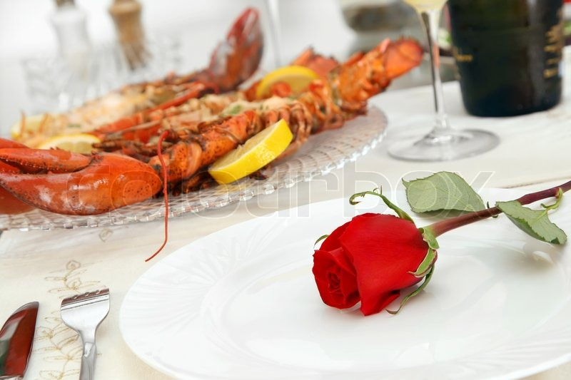 Fine Dining with Grilled Lobster and Red Rose on the Plate ...