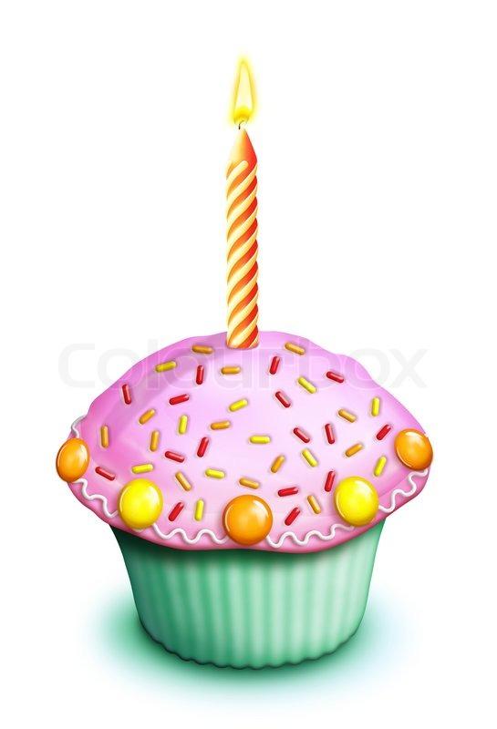 Illustrierte Geburtstag Cupcake Mit Sussigkeiten Streuseln Und Kerze
