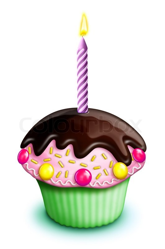Illustrated Birthday Cupcake With Stock Image