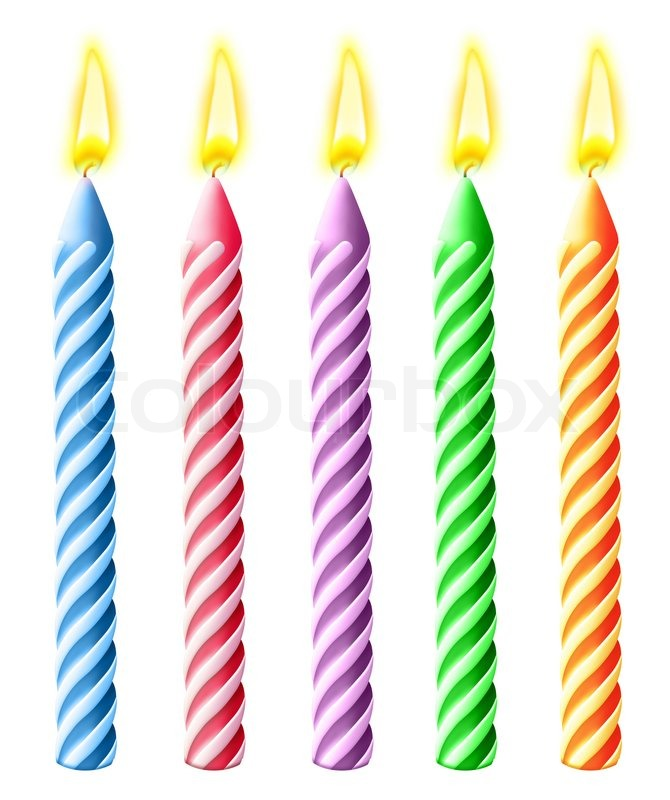 illustrated burning birthday candles stock photo colourbox