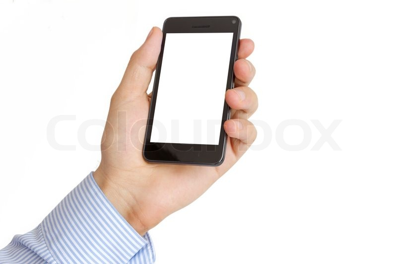 Holding Mobile Smart Phone In Hand Stock Photo Colourbox