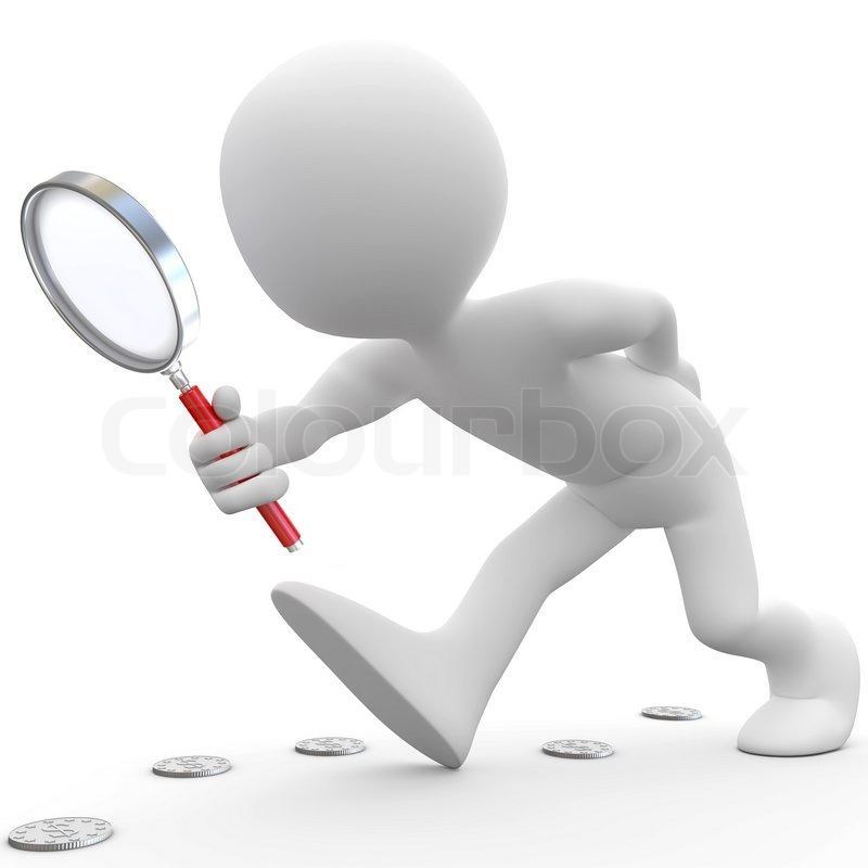 Man with magnifying glass looking for     | Stock image