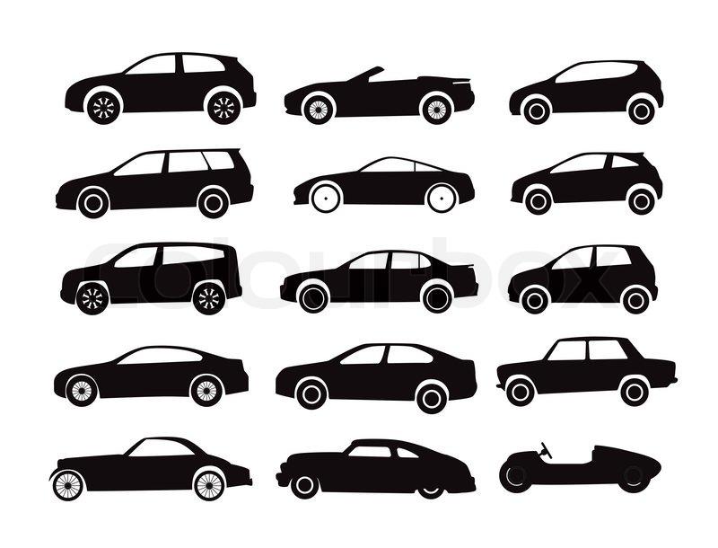 Moderne und Oldtimer-Autos-Silhouetten-Sammlung | Stockfoto | Colourbox