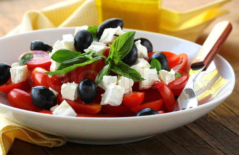 greek style salad with feta cheese and olives stock photo colourbox. Black Bedroom Furniture Sets. Home Design Ideas