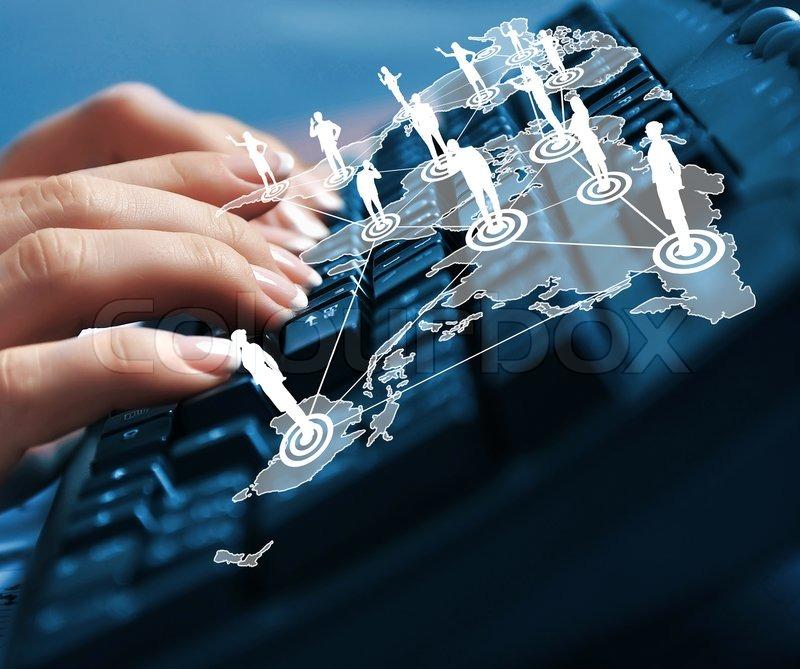 Computer keyboard and social media images, stock photo