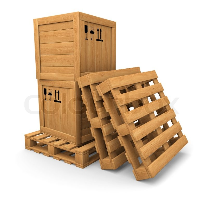 Wooden boxes with print on pallet, pile of pallets | Stock ...