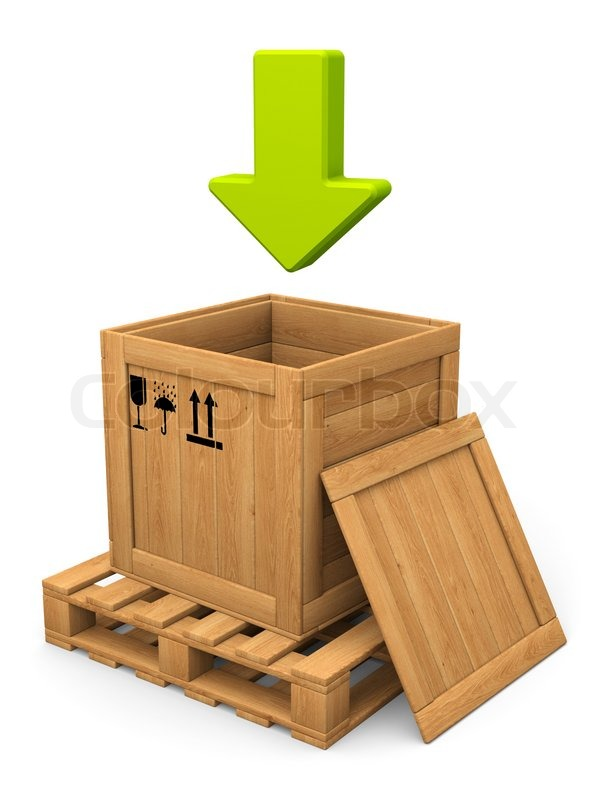 open wooden box and green arrow download concept stock photo