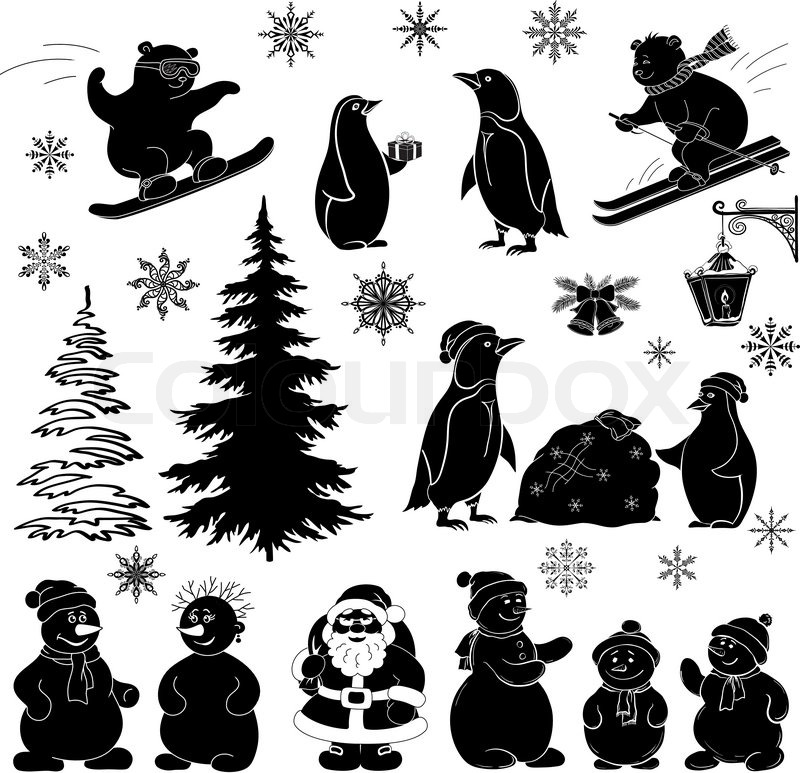 Weihnachten Cartoon, Set schwarze Silhouetten | Vektorgrafik | Colourbox