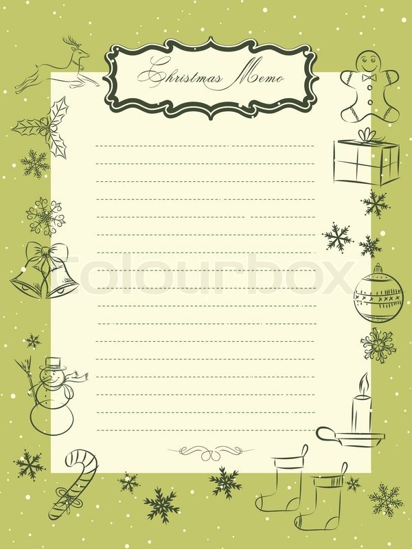 Christmas seasons vintage memo sheet | Stock Vector | Colourbox