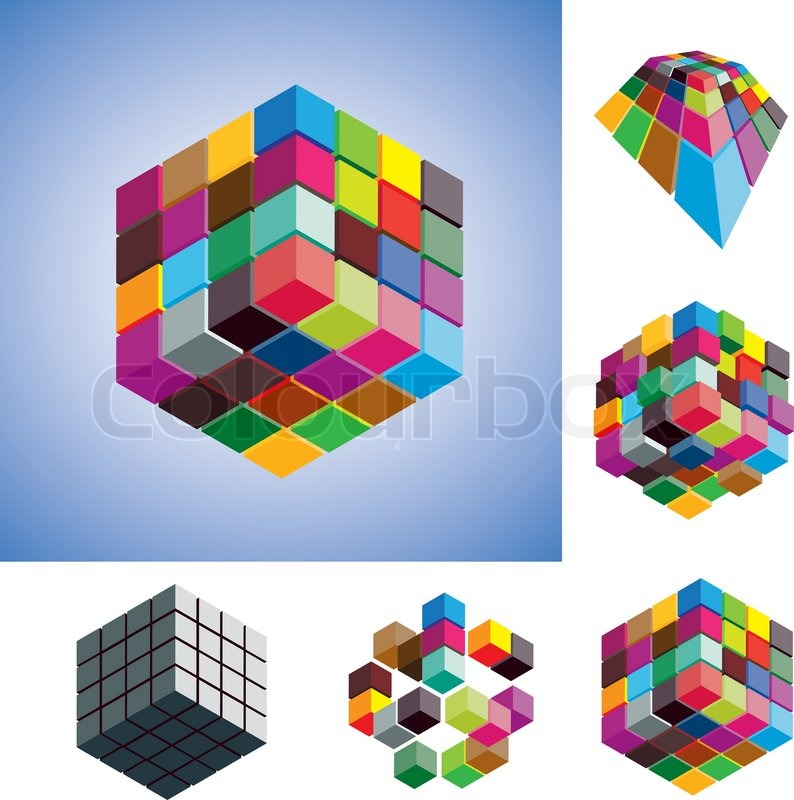 Illustration of colorful and mono-chromatic 3d cubes ...