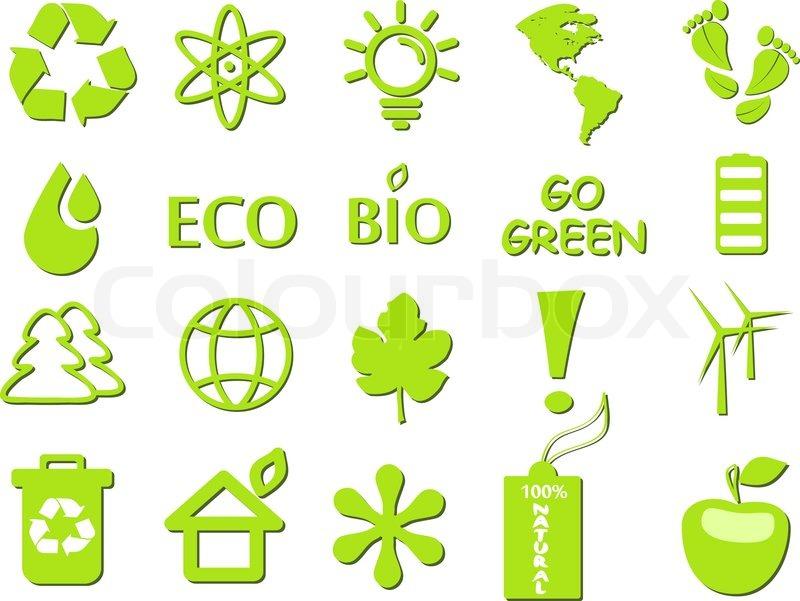 Go Green Ecological Icon Set Stock Vector Colourbox