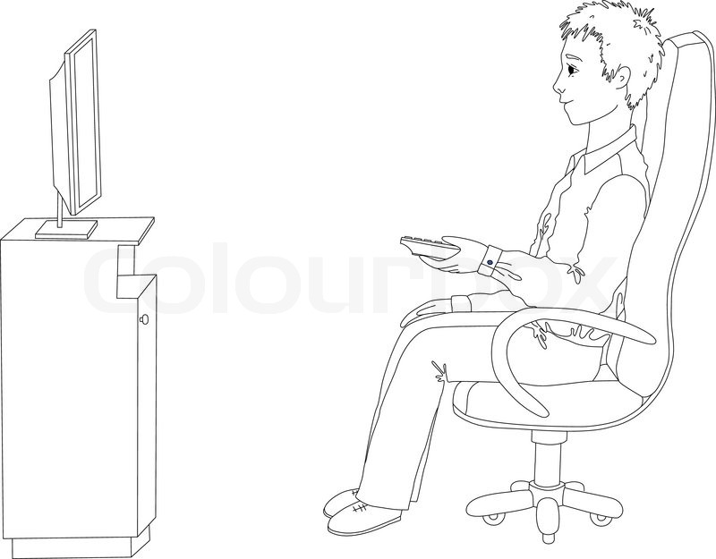 how to draw someone watching tv