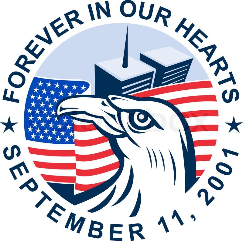 9 11 Memorial American Eagle Flag Twin Towers Stock