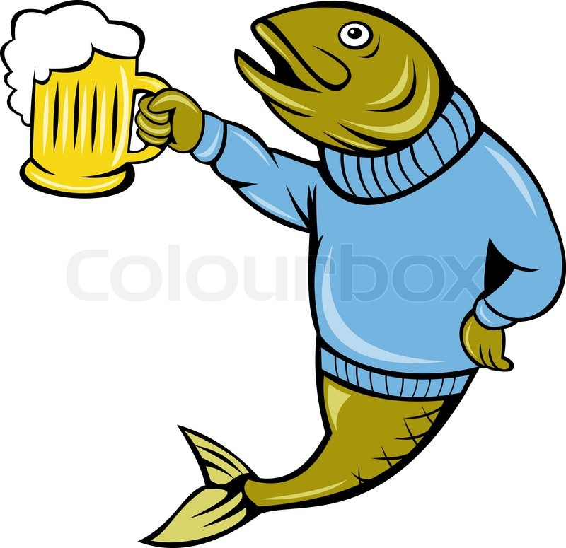 Trout fish holding a beer mug stock photo colourbox for Fish and beer