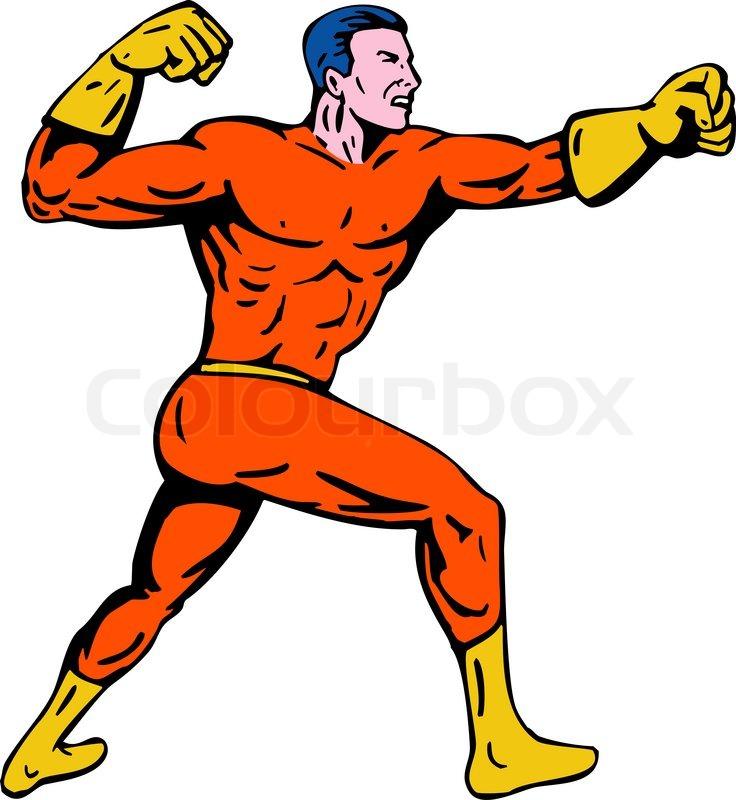Cartoon Super Hero Running Punching Stock Photo Colourbox