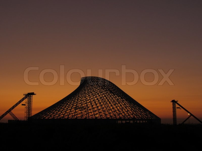 This shot was taken in Tor Vergata, Rome. The structure was built in 2009 for the Swimming Olympic games, stock photo