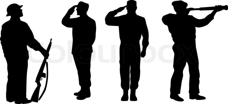 illustration of a silhouette of a soldier saluting standing attention and looking at telescope on white background stock photo